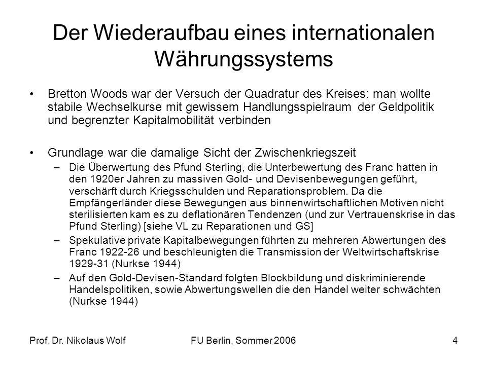 Prof. Dr. Nikolaus WolfFU Berlin, Sommer 20064 Der Wiederaufbau eines internationalen Währungssystems Bretton Woods war der Versuch der Quadratur des