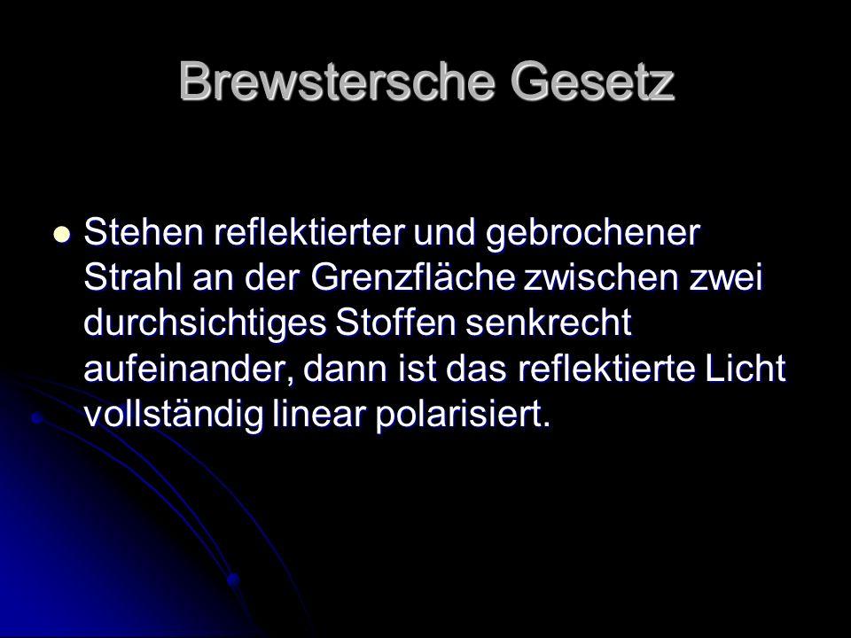 Brewstersche Gesetz Stehen reflektierter und gebrochener Strahl an der Grenzfläche zwischen zwei durchsichtiges Stoffen senkrecht aufeinander, dann is