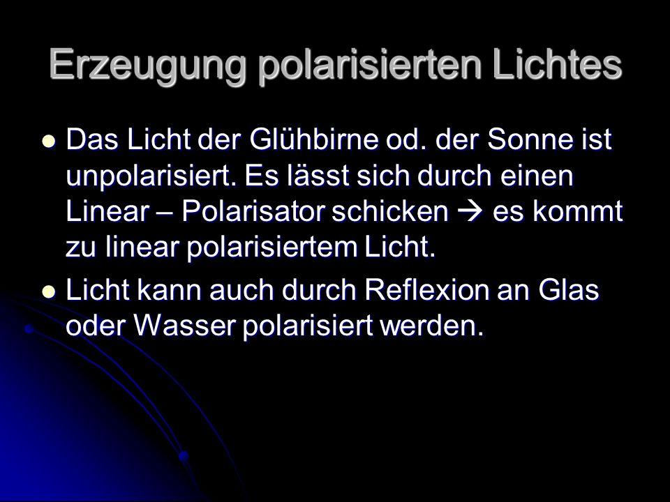 Erzeugung polarisierten Lichtes Das Licht der Glühbirne od. der Sonne ist unpolarisiert. Es lässt sich durch einen Linear – Polarisator schicken es ko