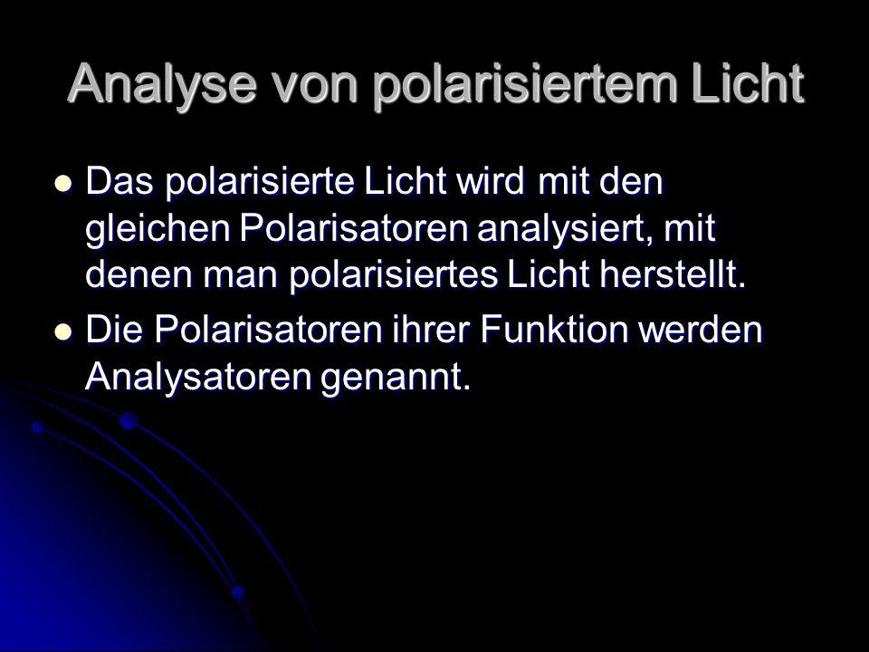 Analyse von polarisiertem Licht Das polarisierte Licht wird mit den gleichen Polarisatoren analysiert, mit denen man polarisiertes Licht herstellt. Da