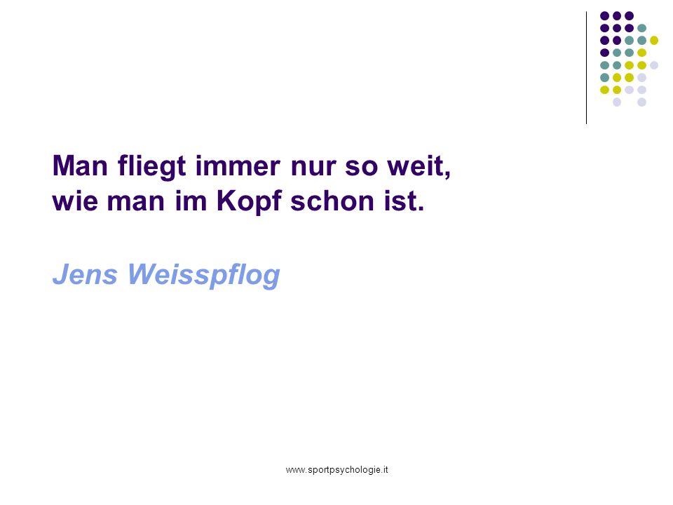 www.sportpsychologie.it Man fliegt immer nur so weit, wie man im Kopf schon ist. Jens Weisspflog