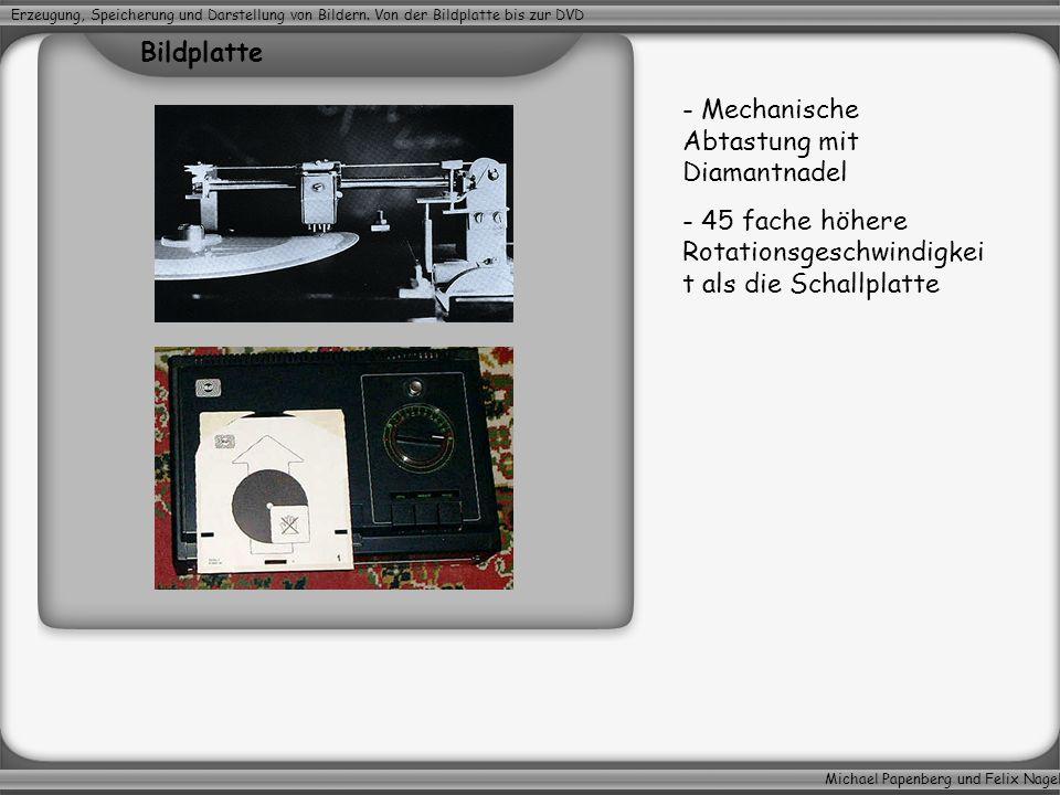 Michael Papenberg und Felix Nagel Erzeugung, Speicherung und Darstellung von Bildern. Von der Bildplatte bis zur DVD - Mechanische Abtastung mit Diama