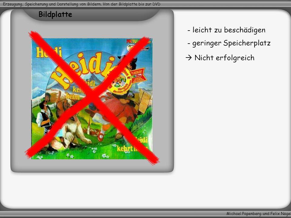 Michael Papenberg und Felix Nagel Erzeugung, Speicherung und Darstellung von Bildern. Von der Bildplatte bis zur DVD - leicht zu beschädigen - geringe