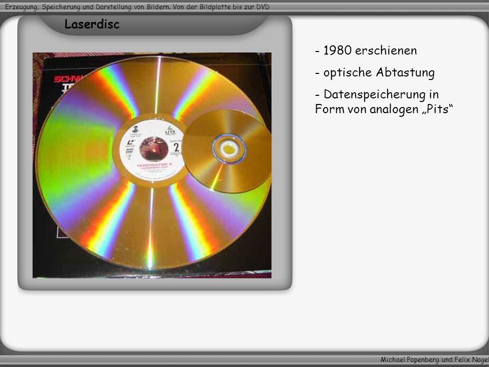 Michael Papenberg und Felix Nagel Erzeugung, Speicherung und Darstellung von Bildern. Von der Bildplatte bis zur DVD - 1980 erschienen - optische Abta