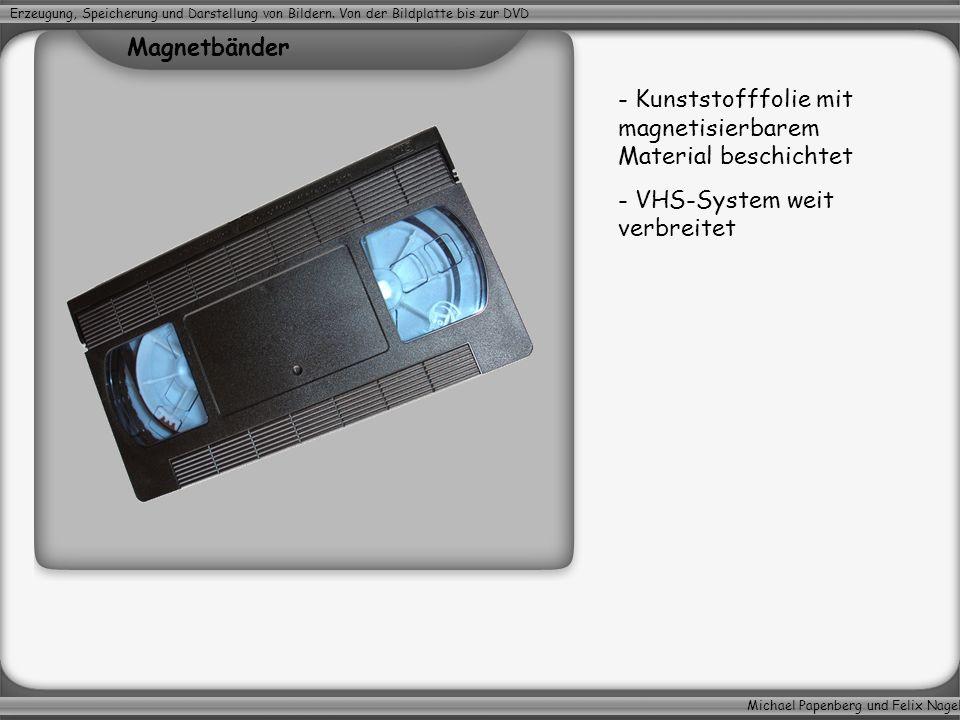 Michael Papenberg und Felix Nagel Erzeugung, Speicherung und Darstellung von Bildern. Von der Bildplatte bis zur DVD - Kunststofffolie mit magnetisier