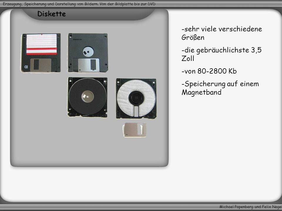 Michael Papenberg und Felix Nagel Erzeugung, Speicherung und Darstellung von Bildern. Von der Bildplatte bis zur DVD -sehr viele verschiedene Größen -