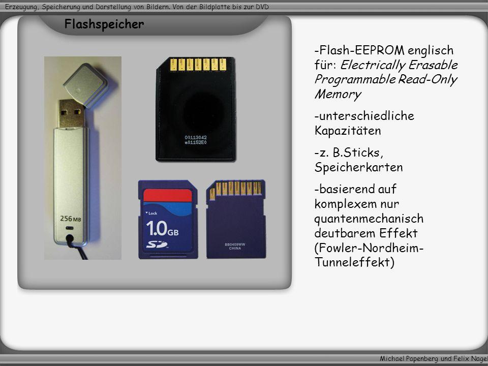 Michael Papenberg und Felix Nagel Erzeugung, Speicherung und Darstellung von Bildern. Von der Bildplatte bis zur DVD -Flash-EEPROM englisch für: Elect
