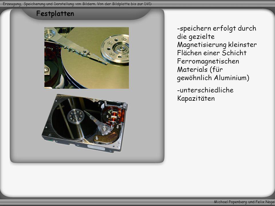 Michael Papenberg und Felix Nagel Erzeugung, Speicherung und Darstellung von Bildern. Von der Bildplatte bis zur DVD Festplatten -speichern erfolgt du