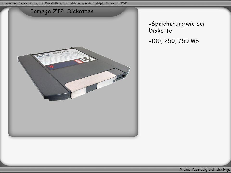 Michael Papenberg und Felix Nagel Erzeugung, Speicherung und Darstellung von Bildern. Von der Bildplatte bis zur DVD -Speicherung wie bei Diskette -10