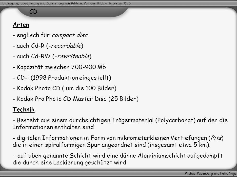 Michael Papenberg und Felix Nagel Erzeugung, Speicherung und Darstellung von Bildern. Von der Bildplatte bis zur DVD CD Arten - englisch für compact d