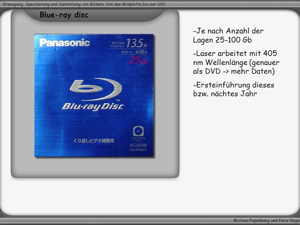 Michael Papenberg und Felix Nagel Erzeugung, Speicherung und Darstellung von Bildern. Von der Bildplatte bis zur DVD -Je nach Anzahl der Lagen 25-100