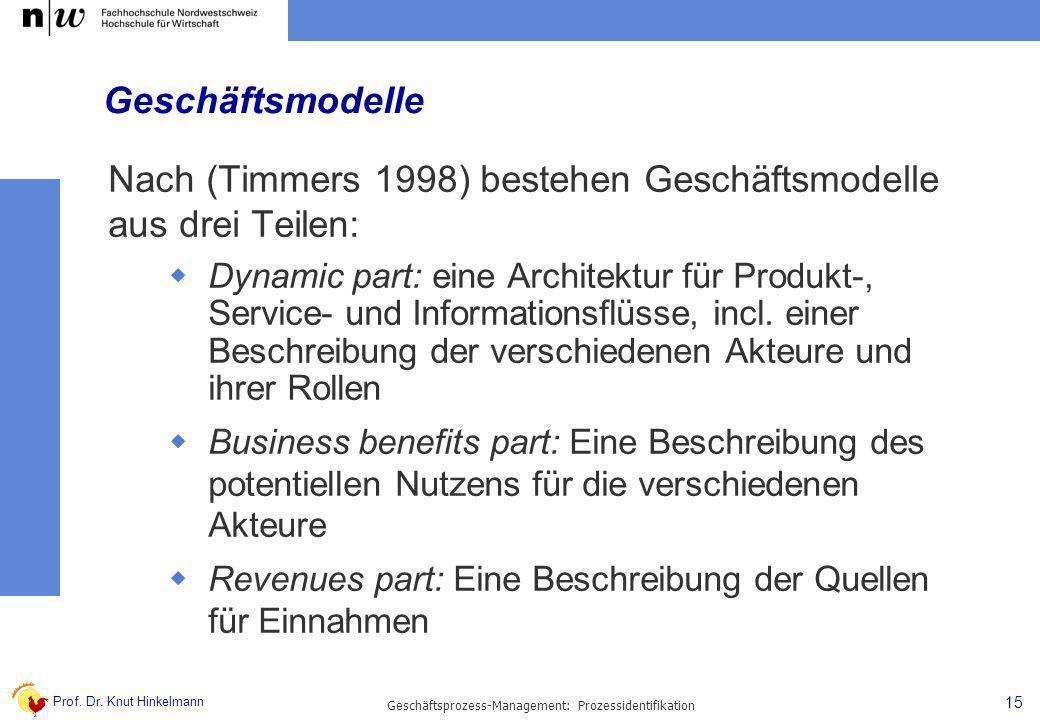 Prof. Dr. Knut Hinkelmann 15 Geschäftsprozess-Management: Prozessidentifikation Geschäftsmodelle Nach (Timmers 1998) bestehen Geschäftsmodelle aus dre