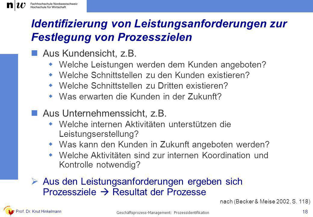 Prof. Dr. Knut Hinkelmann 18 Geschäftsprozess-Management: Prozessidentifikation Identifizierung von Leistungsanforderungen zur Festlegung von Prozessz
