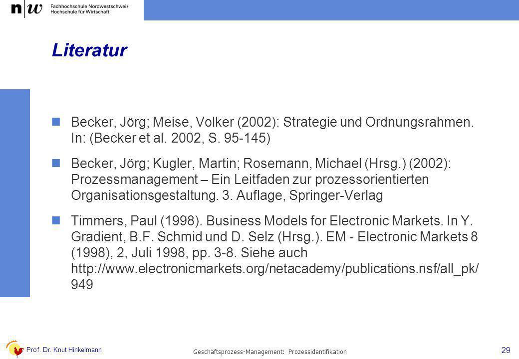 Prof. Dr. Knut Hinkelmann 29 Geschäftsprozess-Management: Prozessidentifikation Literatur Becker, Jörg; Meise, Volker (2002): Strategie und Ordnungsra