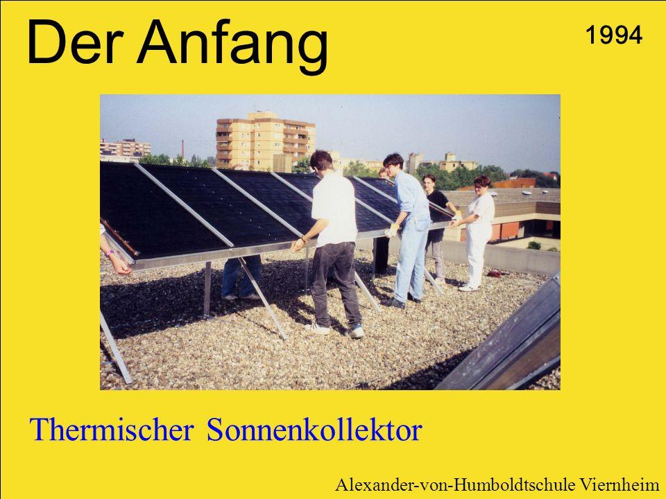 Der Anfang Thermischer Sonnenkollektor 1994 Alexander-von-Humboldtschule Viernheim