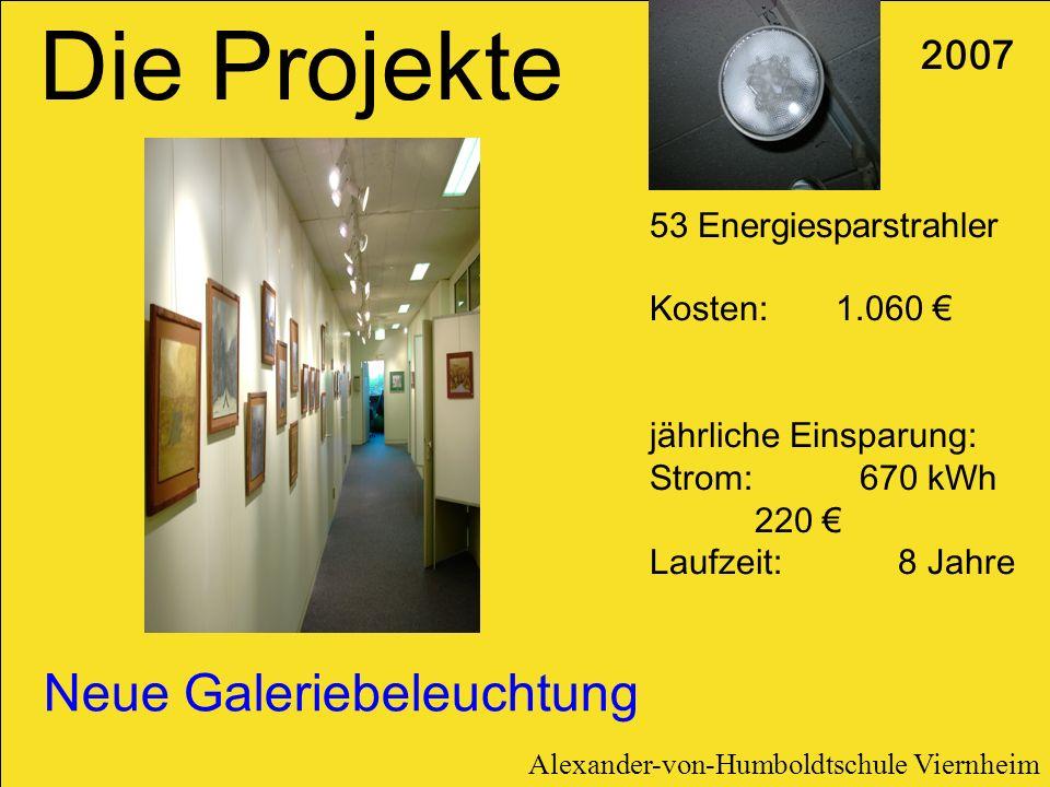Neue Galeriebeleuchtung 2007 53 Energiesparstrahler Kosten: 1.060 jährliche Einsparung: Strom: 670 kWh 220 Laufzeit: 8 Jahre Die Projekte Alexander-vo