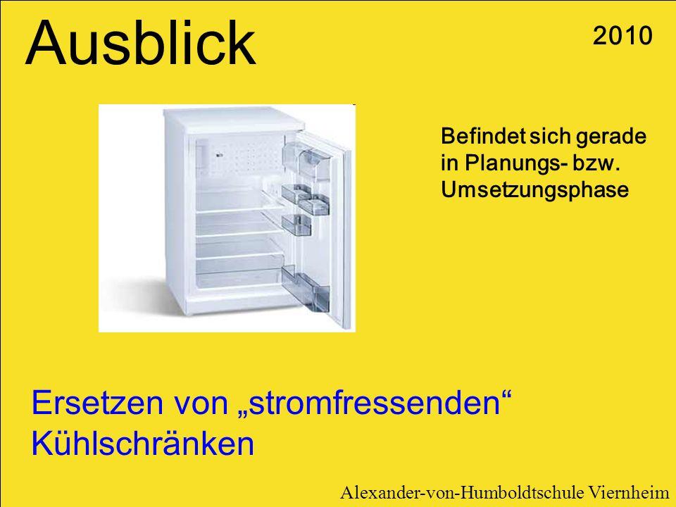 Ersetzen von stromfressenden Kühlschränken Befindet sich gerade in Planungs- bzw. Umsetzungsphase Ausblick 2010 Alexander-von-Humboldtschule Viernheim