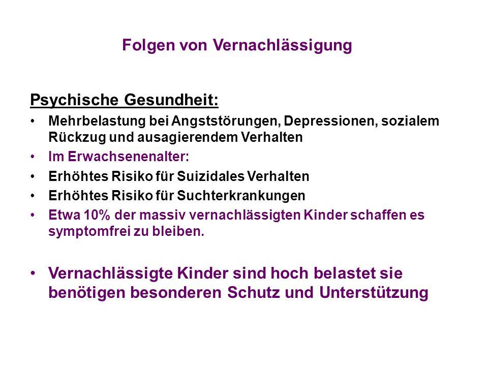 Folgen von Vernachlässigung Psychische Gesundheit: Mehrbelastung bei Angststörungen, Depressionen, sozialem Rückzug und ausagierendem Verhalten Im Erw