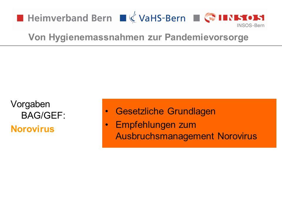 Von Hygienemassnahmen zur Pandemievorsorge Vorgaben BAG/GEF: Norovirus Gesetzliche Grundlagen Empfehlungen zum Ausbruchsmanagement Norovirus