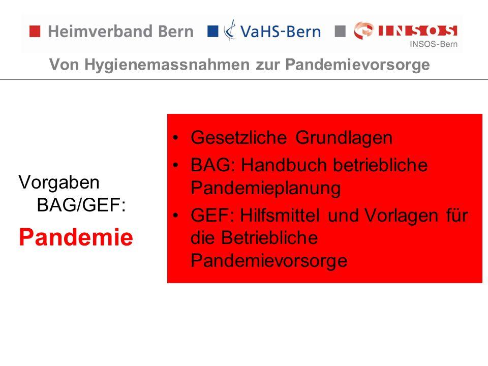Von Hygienemassnahmen zur Pandemievorsorge Vorgaben BAG/GEF: Pandemie Gesetzliche Grundlagen BAG: Handbuch betriebliche Pandemieplanung GEF: Hilfsmitt