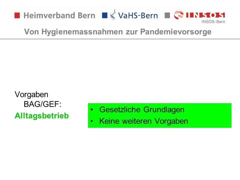 Von Hygienemassnahmen zur Pandemievorsorge Vorgaben BAG/GEF: Alltagsbetrieb Gesetzliche Grundlagen Keine weiteren Vorgaben