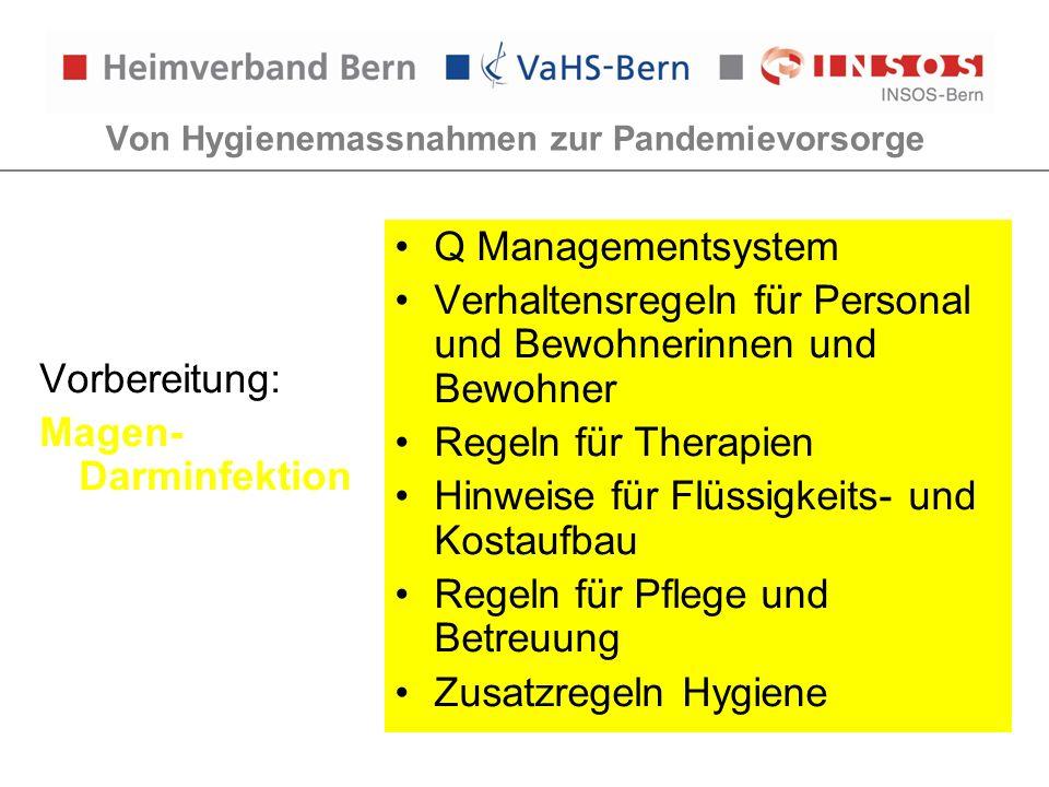 Von Hygienemassnahmen zur Pandemievorsorge Vorbereitung: Magen- Darminfektion Q Managementsystem Verhaltensregeln für Personal und Bewohnerinnen und B