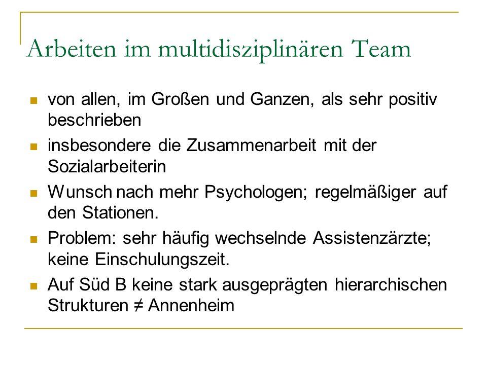 Arbeiten im multidisziplinären Team von allen, im Großen und Ganzen, als sehr positiv beschrieben insbesondere die Zusammenarbeit mit der Sozialarbeit