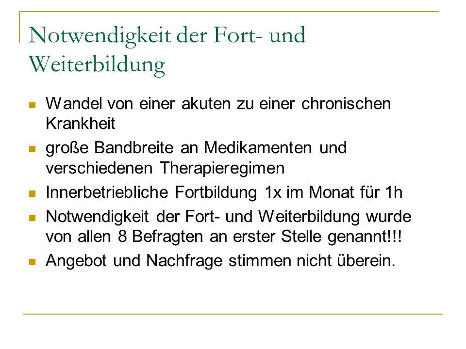 Notwendigkeit der Fort- und Weiterbildung Wandel von einer akuten zu einer chronischen Krankheit große Bandbreite an Medikamenten und verschiedenen Th