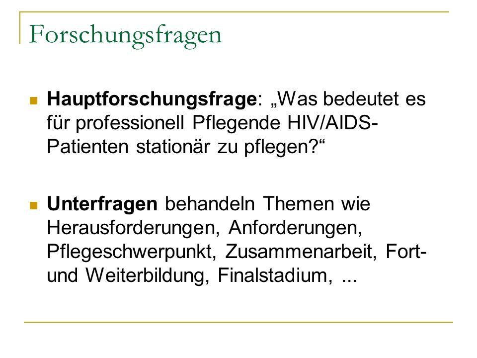 Forschungsfragen Hauptforschungsfrage: Was bedeutet es für professionell Pflegende HIV/AIDS- Patienten stationär zu pflegen? Unterfragen behandeln The