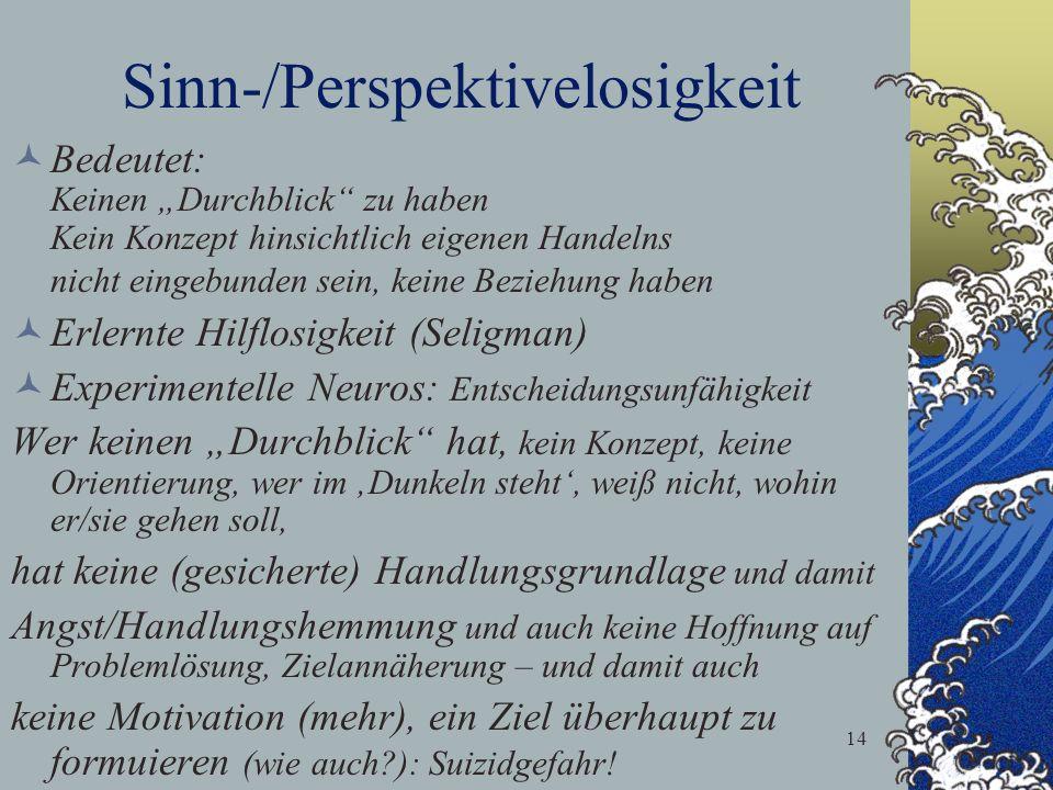 14 Sinn-/Perspektivelosigkeit Bedeutet: Keinen Durchblick zu haben Kein Konzept hinsichtlich eigenen Handelns nicht eingebunden sein, keine Beziehung