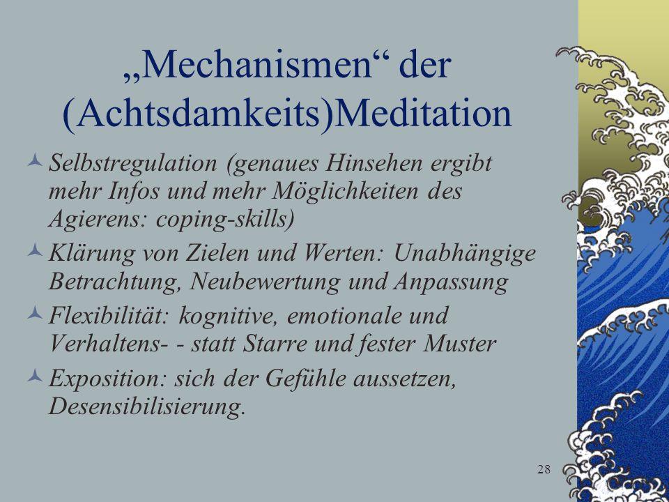 28 Mechanismen der (Achtsdamkeits)Meditation Selbstregulation (genaues Hinsehen ergibt mehr Infos und mehr Möglichkeiten des Agierens: coping-skills)