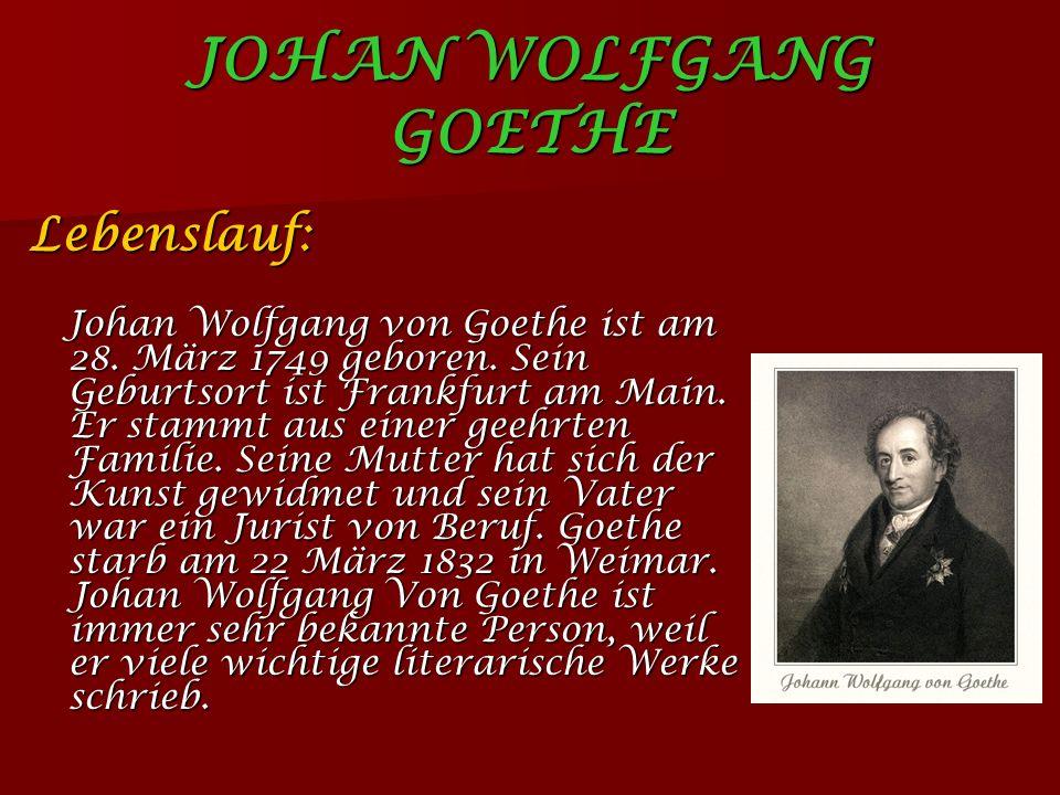 JOHAN WOLFGANG GOETHE Lebenslauf: Johan Wolfgang von Goethe ist am 28.