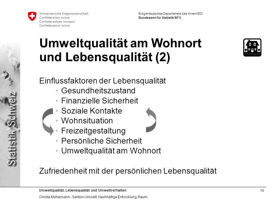 10 Umweltqualität, Lebensqualität und Umweltverhalten Christa Mühlemann - Sektion Umwelt, Nachhaltige Entwicklung, Raum Eidgenössisches Departement de