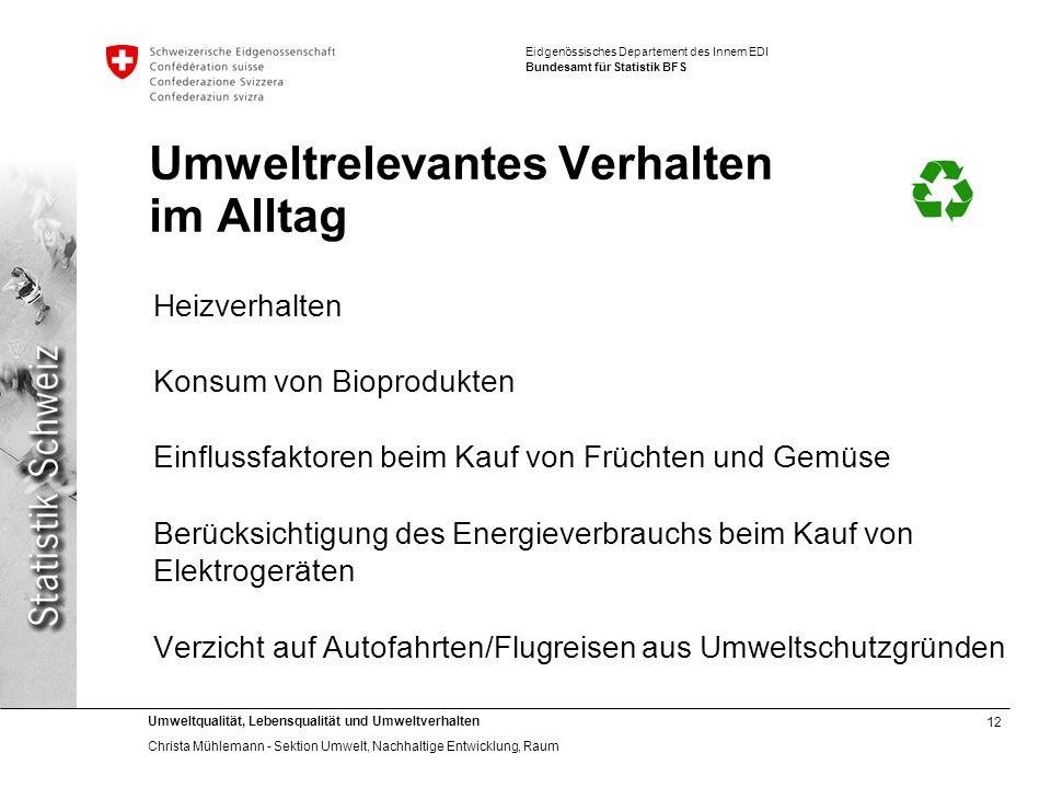12 Umweltqualität, Lebensqualität und Umweltverhalten Christa Mühlemann - Sektion Umwelt, Nachhaltige Entwicklung, Raum Eidgenössisches Departement de