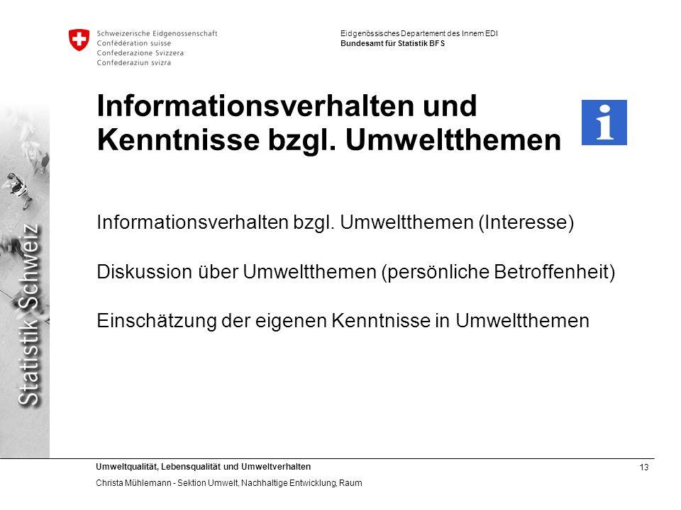 13 Umweltqualität, Lebensqualität und Umweltverhalten Christa Mühlemann - Sektion Umwelt, Nachhaltige Entwicklung, Raum Eidgenössisches Departement de