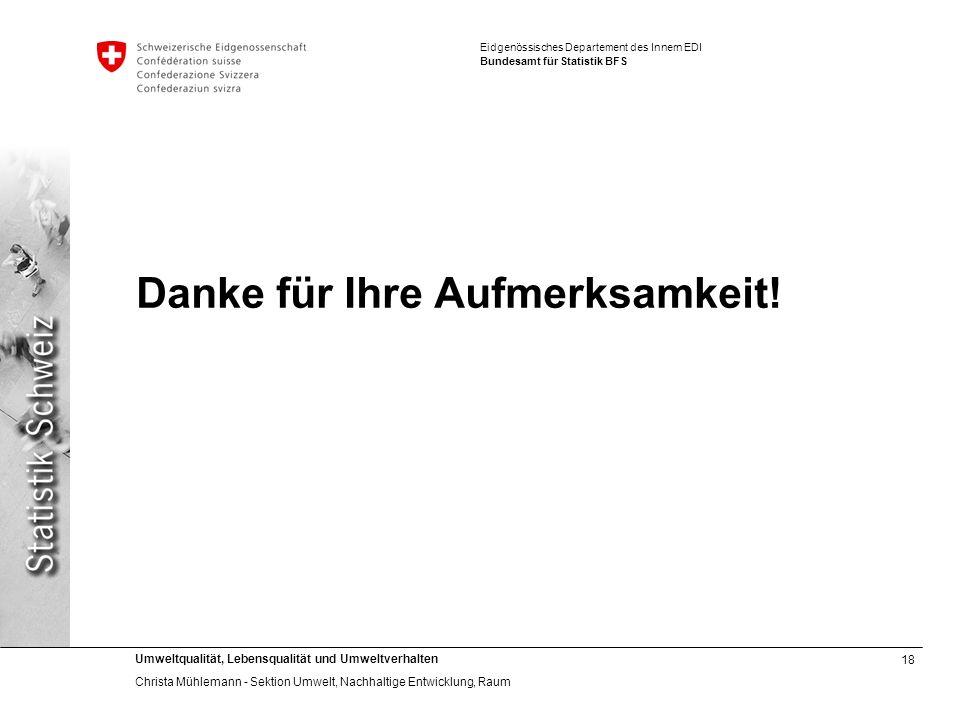 18 Umweltqualität, Lebensqualität und Umweltverhalten Christa Mühlemann - Sektion Umwelt, Nachhaltige Entwicklung, Raum Eidgenössisches Departement de