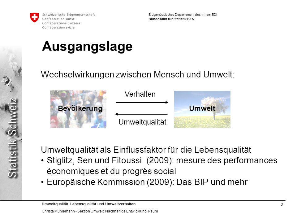 3 Umweltqualität, Lebensqualität und Umweltverhalten Christa Mühlemann - Sektion Umwelt, Nachhaltige Entwicklung, Raum Eidgenössisches Departement des
