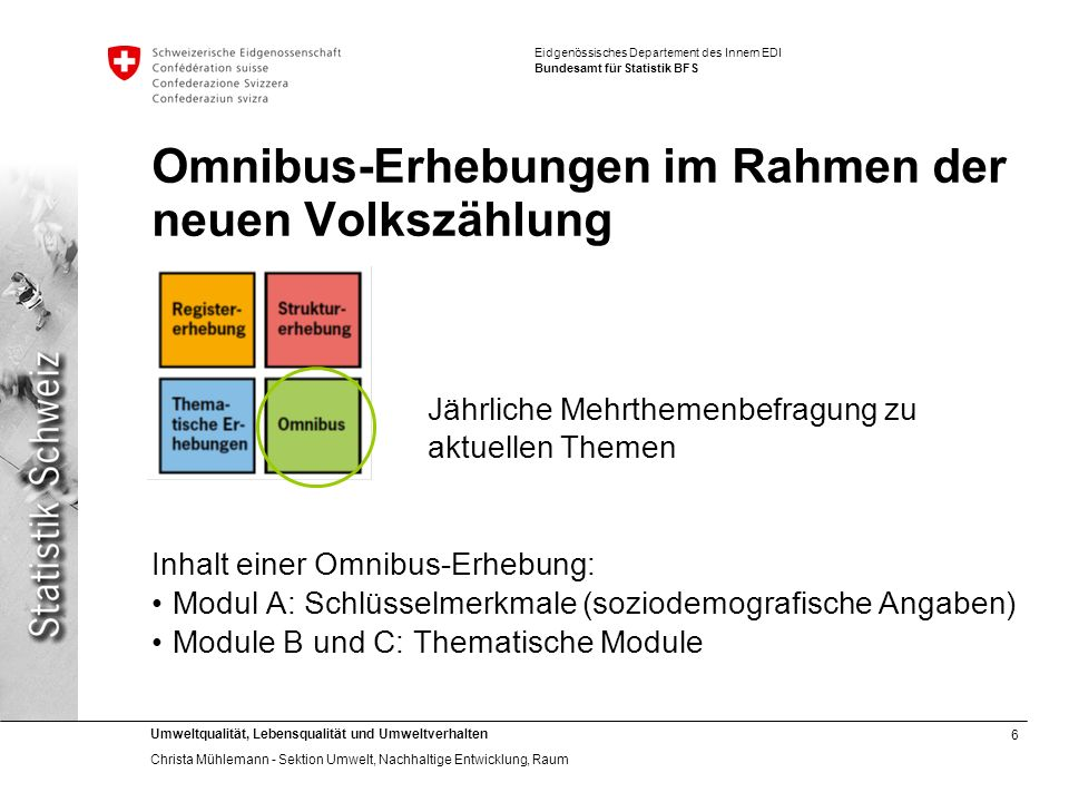 6 Umweltqualität, Lebensqualität und Umweltverhalten Christa Mühlemann - Sektion Umwelt, Nachhaltige Entwicklung, Raum Eidgenössisches Departement des