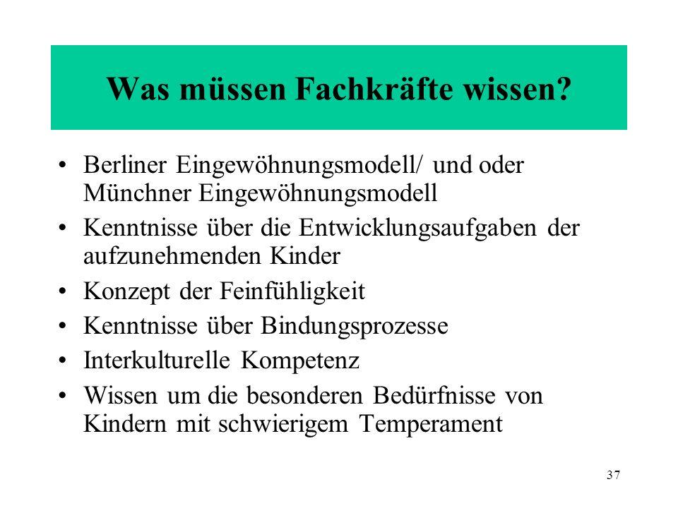 37 Was müssen Fachkräfte wissen? Berliner Eingewöhnungsmodell/ und oder Münchner Eingewöhnungsmodell Kenntnisse über die Entwicklungsaufgaben der aufz