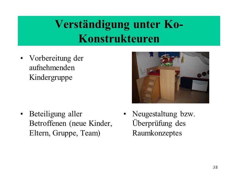 38 Verständigung unter Ko- Konstrukteuren Vorbereitung der aufnehmenden Kindergruppe Beteiligung aller Betroffenen (neue Kinder, Eltern, Gruppe, Team)