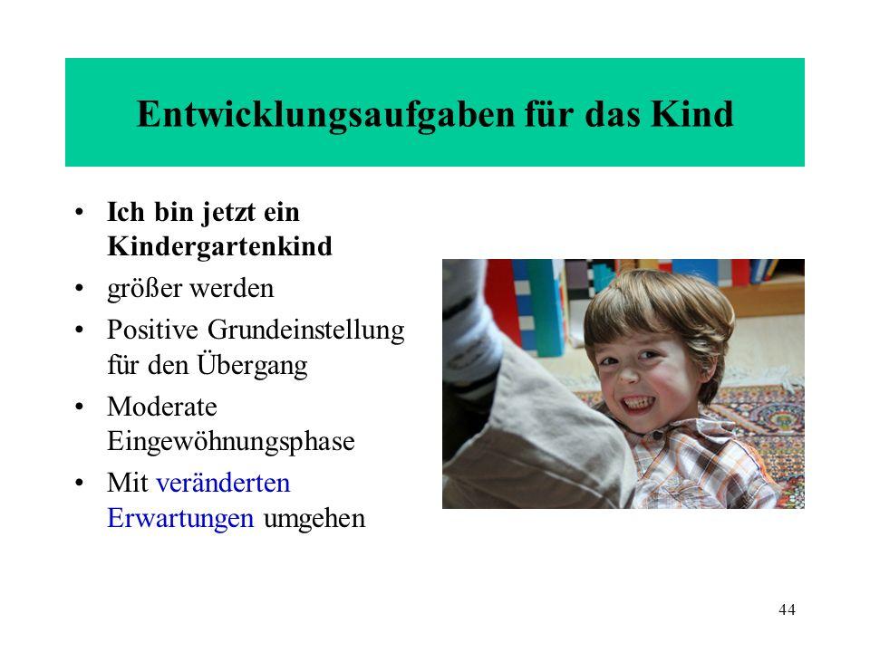 44 Entwicklungsaufgaben für das Kind Ich bin jetzt ein Kindergartenkind größer werden Positive Grundeinstellung für den Übergang Moderate Eingewöhnung