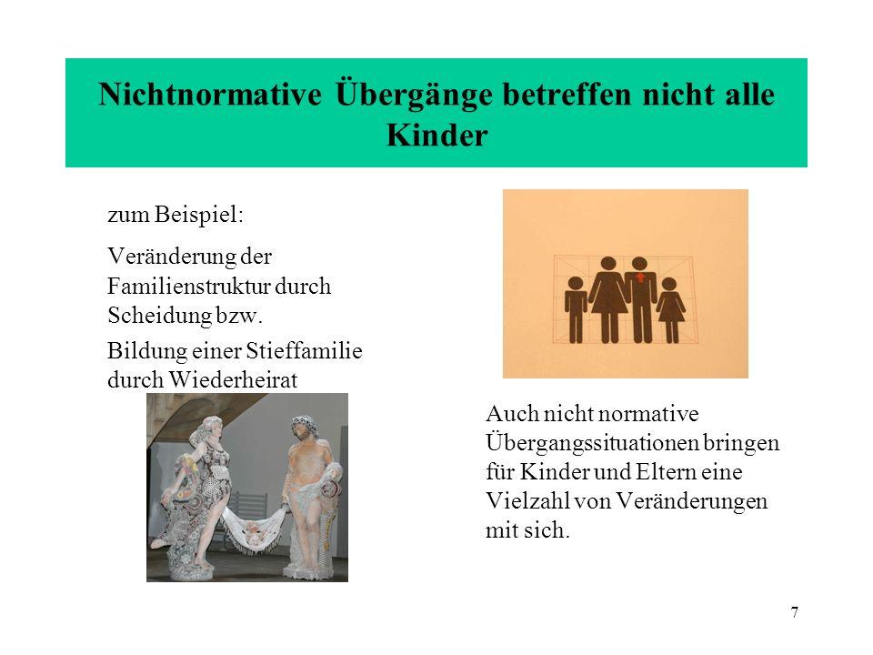 7 Nichtnormative Übergänge betreffen nicht alle Kinder zum Beispiel: Veränderung der Familienstruktur durch Scheidung bzw. Bildung einer Stieffamilie