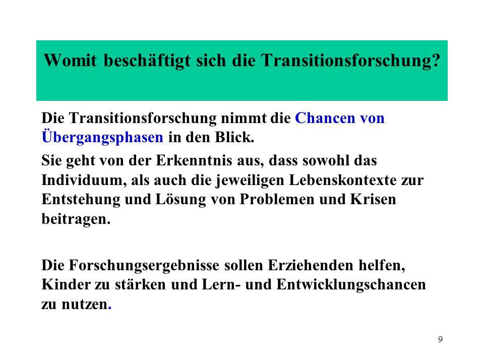 9 Womit beschäftigt sich die Transitionsforschung? Die Transitionsforschung nimmt die Chancen von Übergangsphasen in den Blick. Sie geht von der Erken