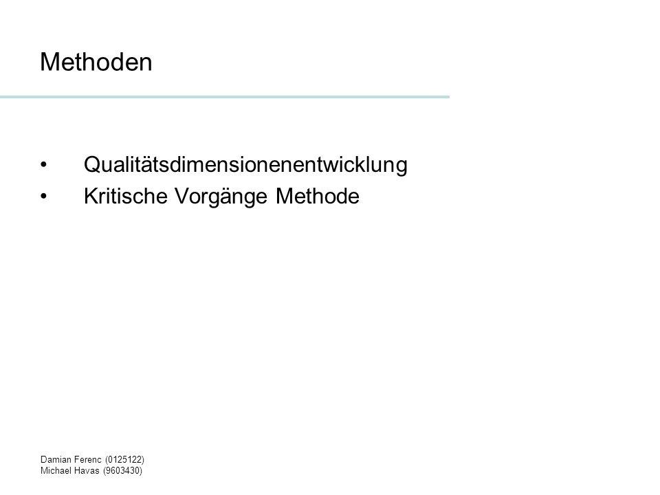 Damian Ferenc (0125122) Michael Havas (9603430) Qualitätsdimensionenentwicklung 1 Identifikation der Qualitätsdimensionen –Als Beispiel für eine Dimension sei hier die Verfügbarkeit von Serviceleistungen eines Unternehmens angeführt.
