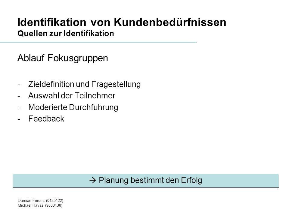 Damian Ferenc (0125122) Michael Havas (9603430) Identifikation von Kundenbedürfnissen Quellen zur Identifikation Vor-/Nachteile Fokusgruppen + -Gruppendynamik -Unterschiedliche Meinungen - -Starke Unterdrücken Schwache -Redezeit (Anzahl vs.