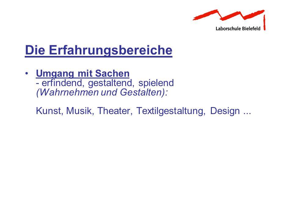 Umgang mit Sachen - erfindend, gestaltend, spielend (Wahrnehmen und Gestalten): Kunst, Musik, Theater, Textilgestaltung, Design... Die Erfahrungsberei