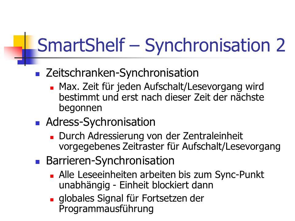 SmartShelf – Synchronisation 2 Zeitschranken-Synchronisation Max. Zeit für jeden Aufschalt/Lesevorgang wird bestimmt und erst nach dieser Zeit der näc