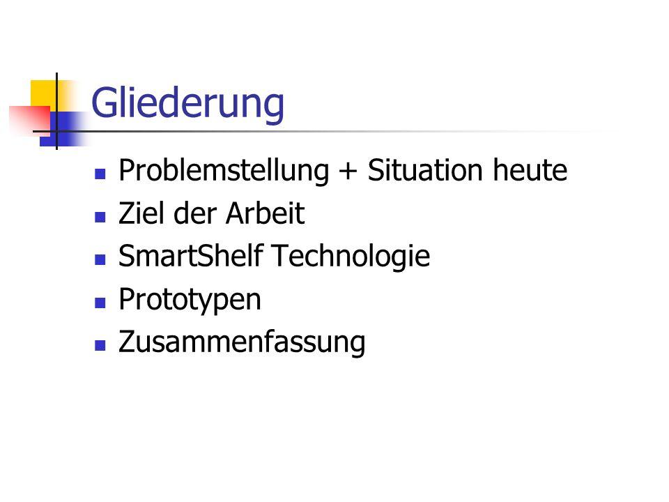 Gliederung Problemstellung + Situation heute Ziel der Arbeit SmartShelf Technologie Prototypen Zusammenfassung