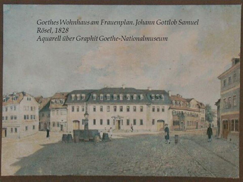Goethes Wohnhaus am Frauenplan. Johann Gottlob Samuel Rösel, 1828 Aquarell über Graphit Goethe-Nationalmuseum