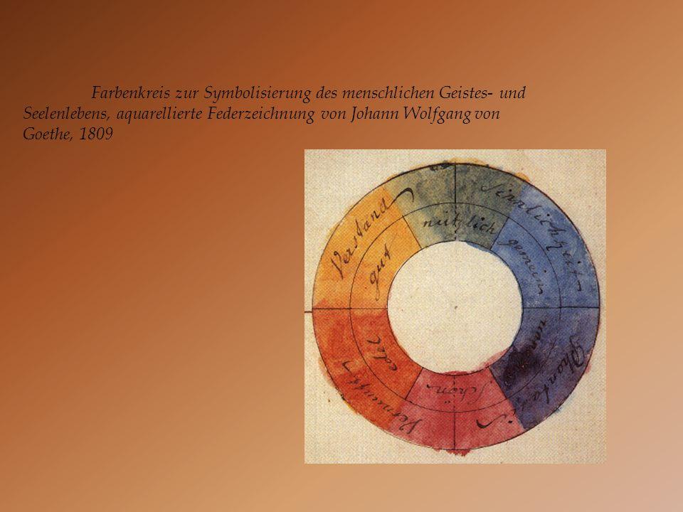 Farbenkreis zur Symbolisierung des menschlichen Geistes- und Seelenlebens, aquarellierte Federzeichnung von Johann Wolfgang von Goethe, 1809